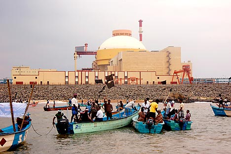 A group of protesters, including fishermen, have been agitating against the Russia-built Kudankulam atomic plant. Source: AP