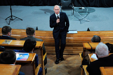 Russian Prime Minister and presidential candidate Vladimir Putin addresses election activists in Moscow on Tuesday, Feb. 7, 2012. Source: AP