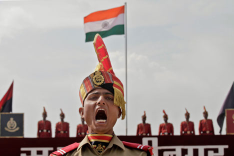 A new recruit of the Indian Border Security Force (BSF) takes part in a passing out parade ceremony in Humhama, on the outskirts of Srinagar, India. Source: AP