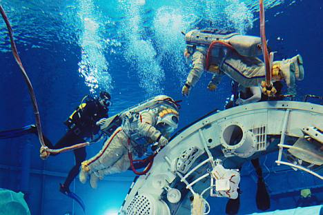 Star quality: A crew training on a submerged model of the ISS in the giant pool Star City. Source: RIA Novosti