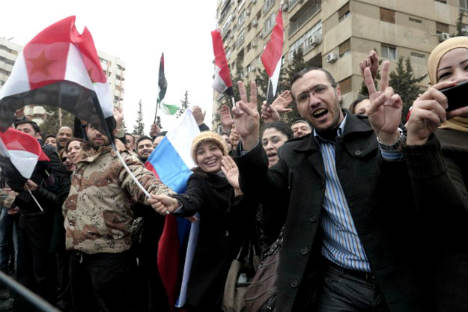 Syrian people welcome Russian delegation in Damascus. Source: RIA Novosti
