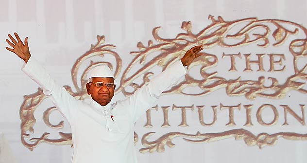 Indian anti-corruption crusader Anna Hazare. Source: AP