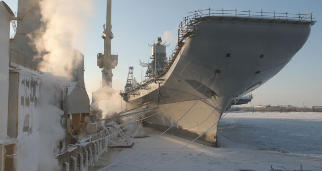 The modernisation of INS Vikramaditya for the Indian Navy at the Sevmash shipyard has moved into the last stage. The picture shows the aircraft-carrier parked on the frozen sea. Source: RIA Novosti