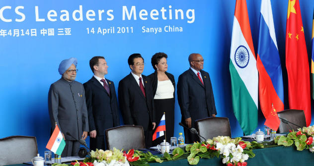 India's Prime Minister Manmohan Singh, Russia's President Dmitry Medvedev, China's President Hu Jintao, Brazil's President Dilma Rousseff and South Africa's President Jacob Zuma. Source: AP