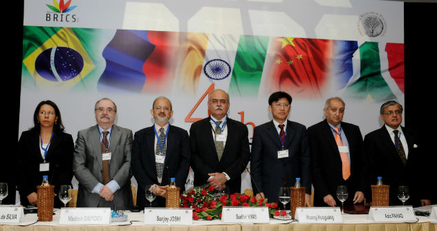 Secretary (ER) Shri Sudhir Vyas with delegation leaders at the Fourth BRICS Academic Forum in New Delhi (5 March 2012). Source: mea.gov.in