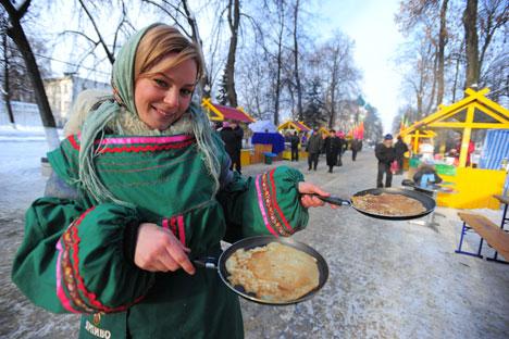 マースレニツァは冬を送り、春を迎える祭日である。=タス通信撮影