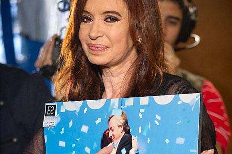 Por primera vez Cristina es elegida en solitario, sin el respaldo de Néstor. Foto de AP