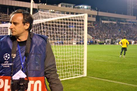 Daniel Utrilla en un partido del Zenith y el Real Madrid en San Petersburgo.