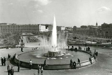 La plaza Bolótnaya en 1947. Foto de Alexéi Góstev