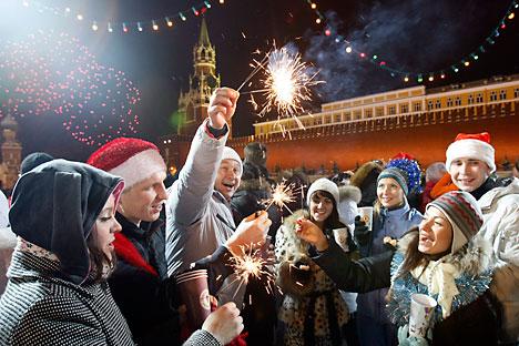 Una de las primeras fiestas de Año Nuevo que se organizaron en 1953, en el Salón de Columnas, foto de Itar Tass.