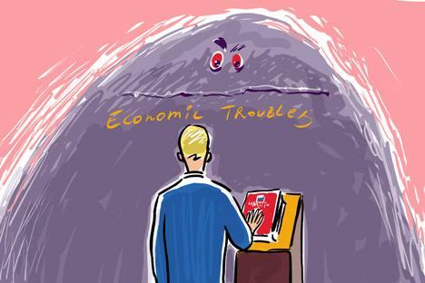 """""""El mundo en 2012"""" prevé para Rusia un PIB per cápita de 13.650 dólares este año. Dibujo de Alexéi Yorsh"""