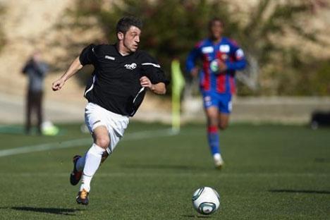 Jonatan Valle, durante el amistoso entre la selección AFE de futbolistas desempleados y el CSKA. Fuente: AFE