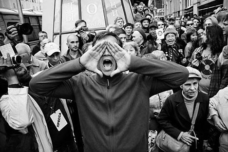 Protesta 31. Reportaje que documenta las manifestaciones que han tenido lugar en la plaza Triunfálnaya.  Fuente: Casa de la Fotografía de Moscú.