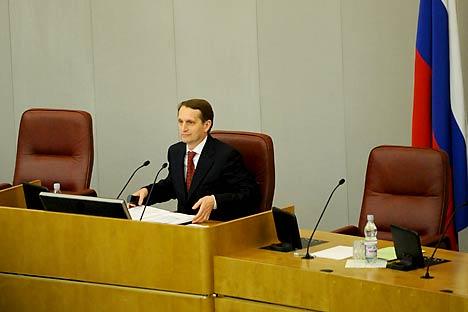Sergei Naryshkin, ex capo dell'amministrazione presidenziale, è stato eletto presidente della Camera Bassa (Foto: Itar-Tass)
