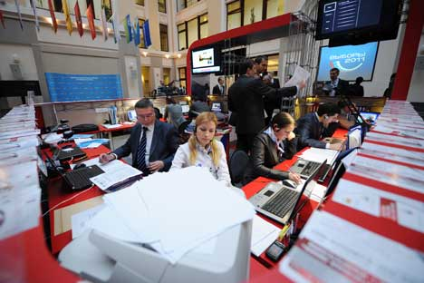 Oltre duemila giornalisti provenienti da 30 Paesi, accreditati nella Sala Stampa della Commissione Centrale Elettorale (Foto: Ria Novosti)