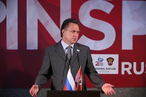 Il ministro russo dello Sport Vitalij Mutko durante una conferenza stampa (Foto Andrei Fedorov/Itar-Tass)