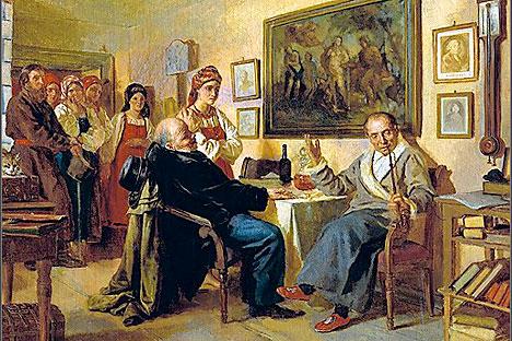 1866 - Nevrev N.V. Baratto. Episodio di vita quotidiana dei servi della gleba. Dal passato recente