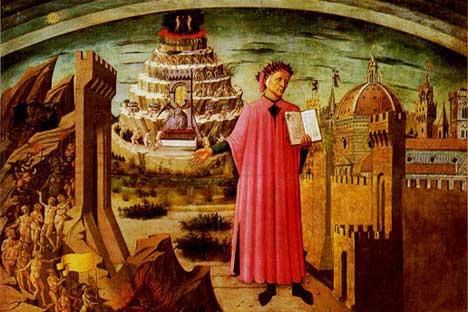 Domenico di Michelino, La Divina Commedia di Dante (1465). Dettaglio dal monumento equestre a Niccolò da Tolentino. Si trova nella navata del Duomo di Firenze (it.wikipedia.org)