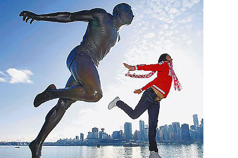 A Russian Olympic athlete shows off her skills at Vancouver'sStanley Park