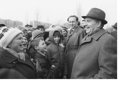 Mikhail Gorbachev during a meeting with citizens of the cityof Tolyatti in 1985.
