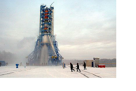 A Molnia-M rocket awaits launch from thePlesetsk Cosmodrome in Russia's northern Arkhangelsk Region