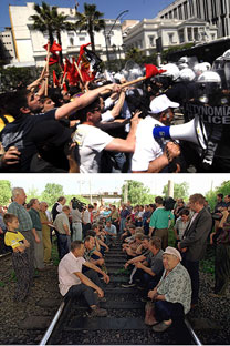 Greek protests in 2010 vs. Russian railroad workers' strike,which blocked off the Trans-Siberian railway, in 1998