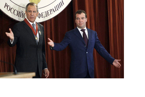 President Dmitry Medvedev (right) and Foreign Minister SergeiLavrov at the meeting with Russian ambassadors.Source: Reuters/Vostock Photo