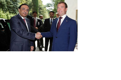 Asif Ali Zardari and Dmitry Medvedev
