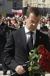 President Dmitry Medvedev shares the griefof the Polish people at the funeral of Polishpresident Lech Kaczynski in Krakow