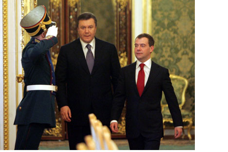 Ukrainian President Viktor Yanukovych with Russian PresidentDmitry Medvedev at the Kremlin in Moscow in early March