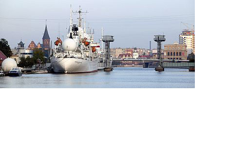The scientific research vessel Cosmonaut Victor Patsaev waitsin the harbor in the center of Kaliningrad