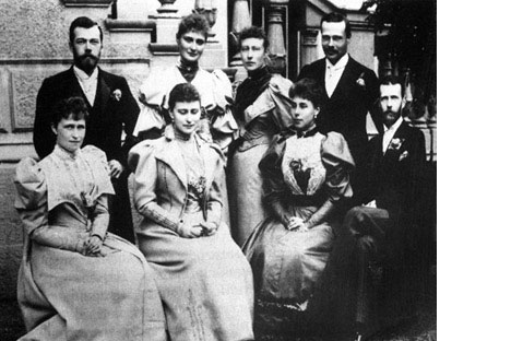 1893: Czar Nikolai Romanov with fiancee Alexandra (upper left), future Czarina of Russia
