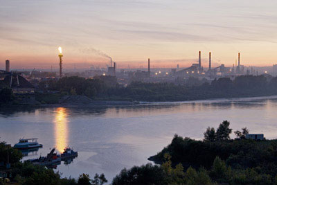 The industrial district of Kemerovo city overlooks Siberia's Tomriver from the right bank