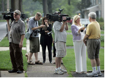 Neighbors are interviewed on Marquette Road in Montclair, N.J.Source: AP/Rich Schultz