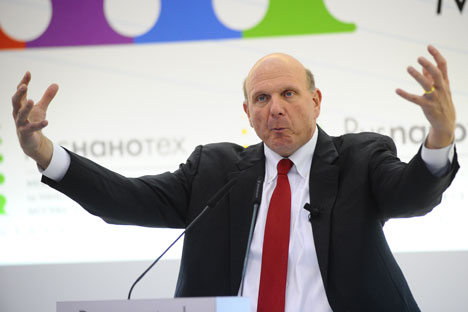 Microsoft CEO Steve Ballmer signed off on a plan to join the SkolkovoCentre, which could bring 'tens of millions of dollars'.Source: ITAR-TASS
