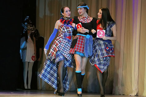 Tartan like never before: designers in Yekaterinburg let thebrakes off convention for the Urals-Scottish fashion showPhoto by Tatiana Andreeva