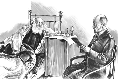 Leo Tolstoy and his personal doctor, Dushan Petrovich Makovitsky, at Yasnaya Polyana. 1909. Drawing by Dmitry Divin