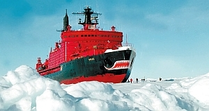 Icebreaker Yamal at a Russian research station at the North Pole