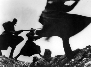 Winter 1941. Soviet soldiers counterattack invading German forces
