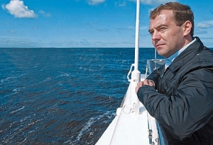 Medvedev enjoys sailing in the country's warmer regions