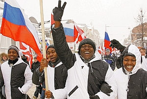 African-Russians activists demonstrate in a march against racism in the Volga city of Nizhy Novgorod