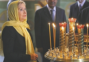 Secretary of State Hillary Clinton attended an Orthodox cathedral in Tatarstan after visiting a mosque the same day, lauding the predominantly Muslim region as a fine example of multi-ethnic tolerance and peace