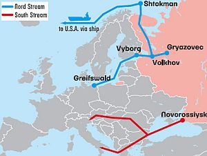 The Nord Stream and South Stream pipelinesare designed to move gas to Europe whileavoiding politically sensitive territories