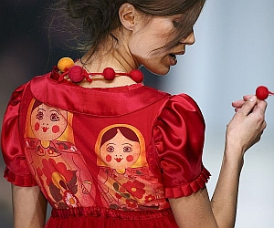"Traditional Russian symbols are oftencombined with ironic gestures to offer someof the best, and quirky, holiday gifts. This dress,called ""Babushki"" (""Grandmothers""), wascreated by designer AntoninaShapavalova in Moscow"