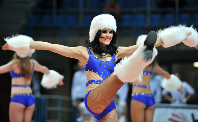 Cheerleaders performing during a break during  the women's semifinal match of the Russian Volleyball Competition held on Dec. 29, 2011 in Moscow. Source: RIA Novosti / Vladimir Pesnyaperforming during a break during  the women's semifinal match of the Russian Volleyball Cup in The Moscow Region. Source: RIA Novosti / Vladimir Pesnya