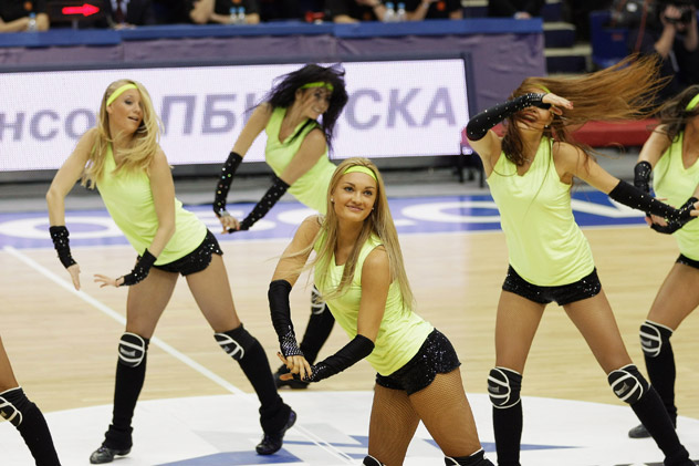 Moscow - CSKA Moscow's dance team performing during the 2011-2012 Turkish Airlines Euro League - a football match between CSKA Moscow and Anadolu EFES Istanbul on Jan. 25, 2012. Source: Getty Images / Fotobank