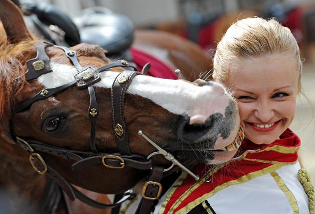 大統領連隊およびクレムリン乗馬学校の共同チームによる騎兵隊が、英国のエリザベス女王二世の戴冠記念祝典に向け準備中。写真は乗馬クラブで興行後の騎兵隊メンバー。 ラミル・シトディコフ/ロシア通信