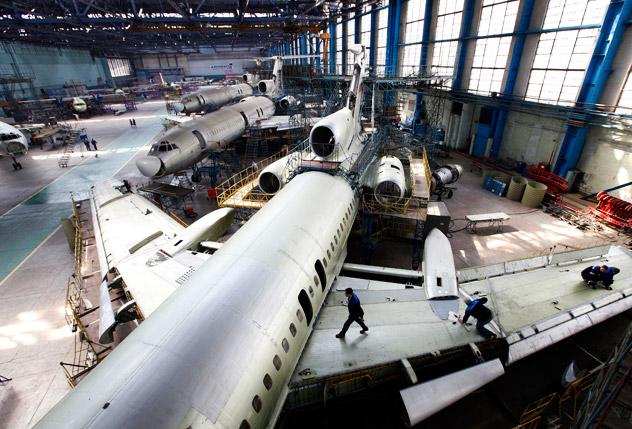 A Tupolev Tu-154M aircraft at the OJSC Aviakor aviation plant, Samara.