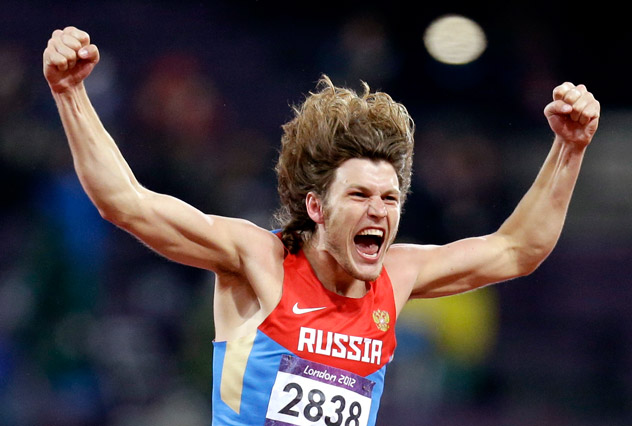 Russia's Ivan Ukhov reacts to his gold medal win in the men's high jump during the athletics in the Olympic Stadium at the 2012 Summer Olympics, London. Source: AP