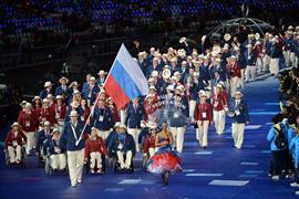 Alexéi Ashapatov, abanderado de la selección rusa. Fuente: ITAR-TASS